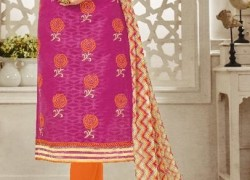 Chanderi cotton embroidered straight suits